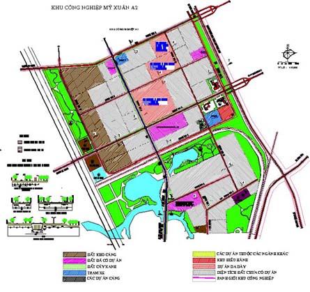 Bản vẽ quy hoạch của KCN Mỹ Xuân A2 Thị xã Phú Mỹ