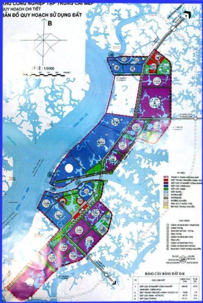 Bản đồ quy hoạch sử dụng đất của KCN Cái Mép thị xã Phú Mỹ