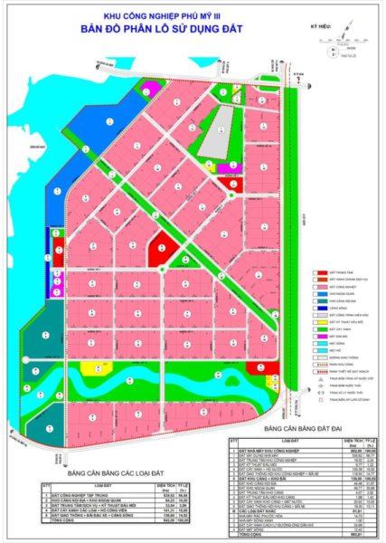 Bản đồ phân lô sử dụng đất của KCN Phú Mỹ 3