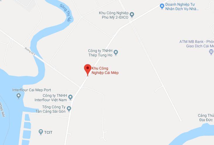 Vị trí địa lý của KCN Cái Mép Thị xã Phú Mỹ