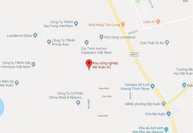 Vị trí địa lý của KCN Mỹ Xuân A2 Thị xã Phú Mỹ