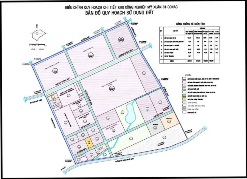 Bản đồ quy hoạch sử dụng đất KCN Mỹ Xuân B1 - CONAC