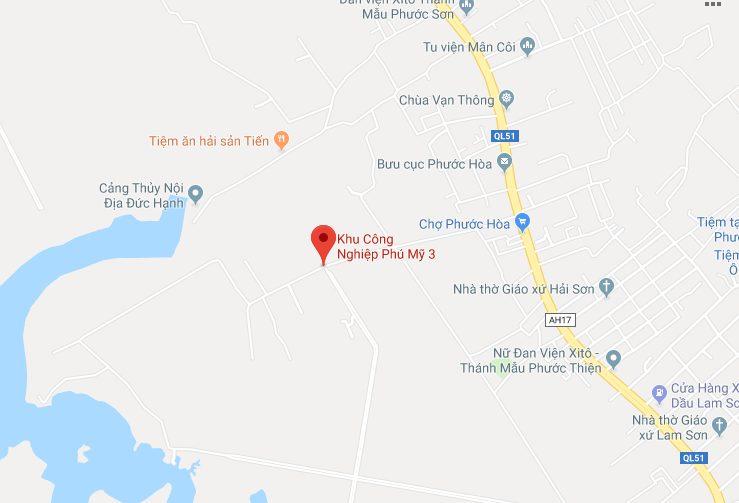 Vị trí địa lý của KCN Phú Mỹ 3 Thị xã Phú Mỹ
