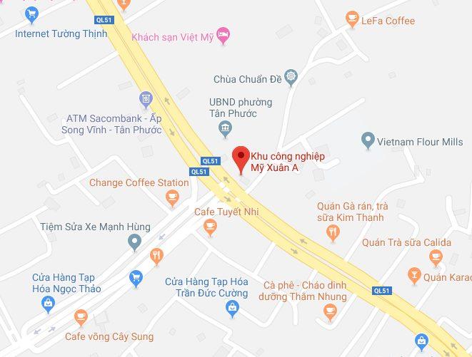 Vị trí địa lý của KCN Mỹ Xuân A Thị xã Phú Mỹ