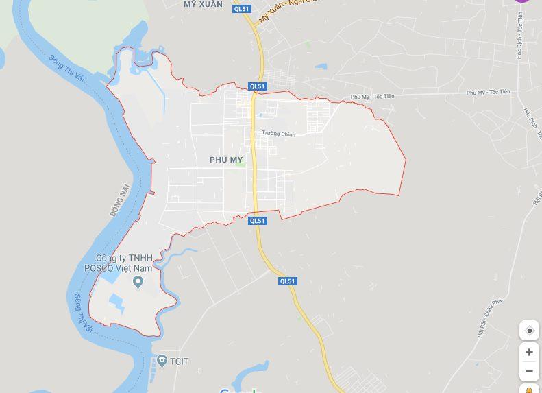 Vị trí địa lý của thị xã Phú Mỹ - Bà Rịa Vũng Tàu