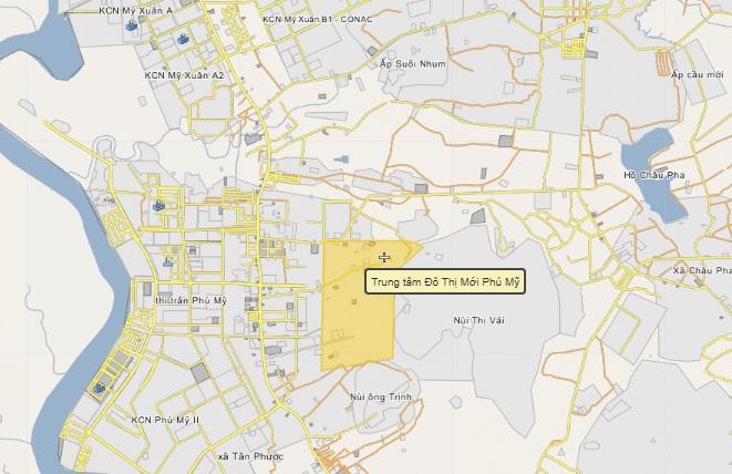 Bản đồ quy hoạch khu trung tâm hành chính – chính trị thị xã Phú Mỹ