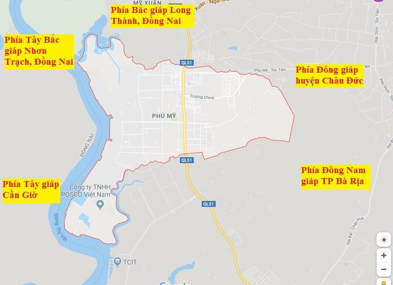Vị trí địa lý của thị xã Phú Mỹ