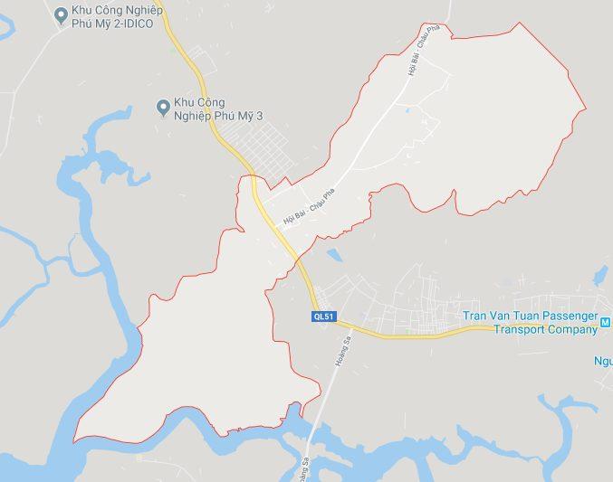 Vị trí địa lý của xã Tân Hòa, thị xã Phú Mỹ, tỉnh Bà Rịa - Vũng Tàu