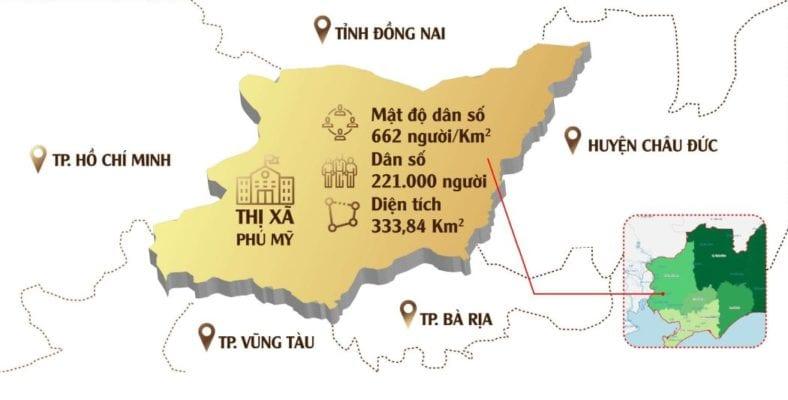 Vị trí - dân số thị xã Phú Mỹ