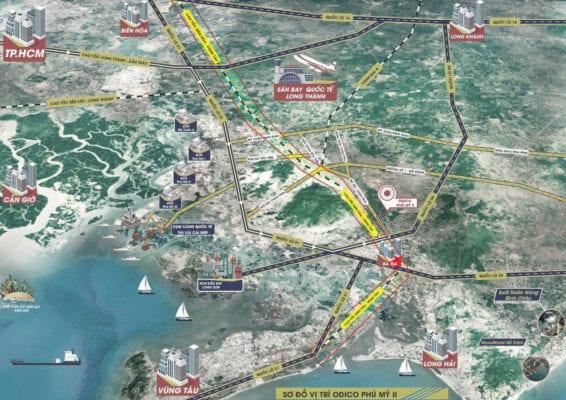 Vị trí cao tốc Bien Hoa - Vung Tau đoạn qua thị xã Phu My