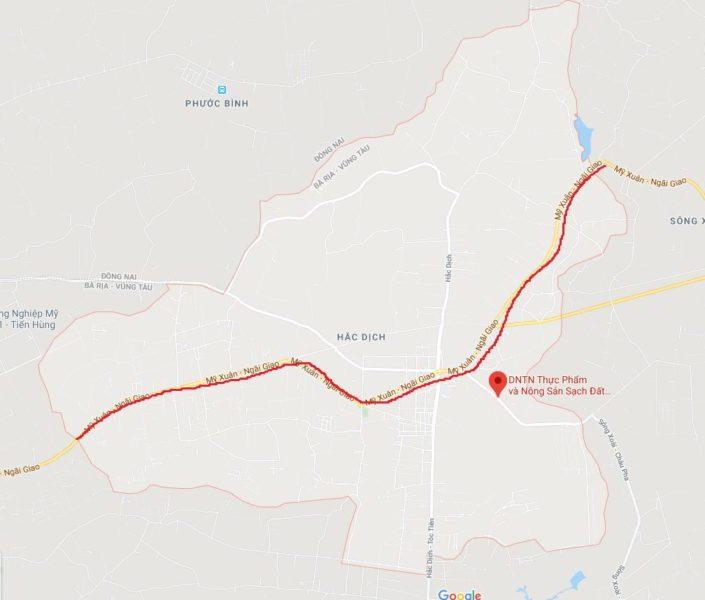 Đường Mỹ Xuân - Ngãi Giao, phường Hắc Dịch, thị xã Phú Mỹ, BRVT trên bản đồ