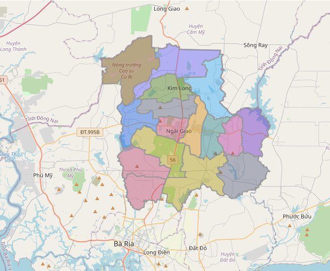 Bản đồ huyện Châu Đức