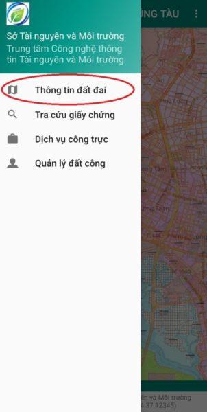 Tra cứu thông tin đất đai trên app