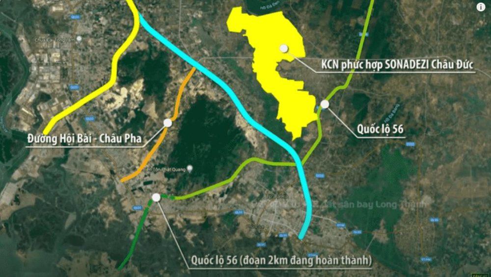 Sơ đồ kết nối hạ tầng giao thông giữa tuyến đường quốc lộ 56 tuyến tránh TP Bà Rịa và các tuyến đường khác