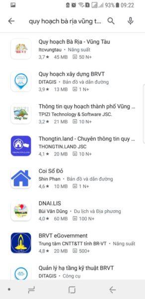 Tìm thông tin app quy hoạch Bà Rịa Vung Tàu