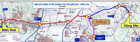 Bản đồ hướng tuyến cao tốc Biên Hòa - Vũng Tàu