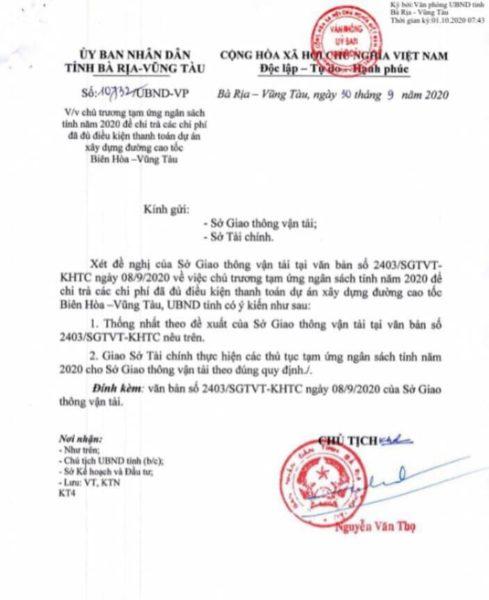 Văn bản chủ trương tạm ứng ngân sách tỉnh năm 2020 của tỉnh BRVT để chi trả chi phí cho cao tốc Biên Hòa - Vũng Tàu